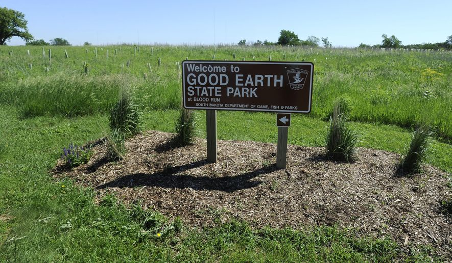 A Sign Marks Good Earth State Park At Blood Run Creek In