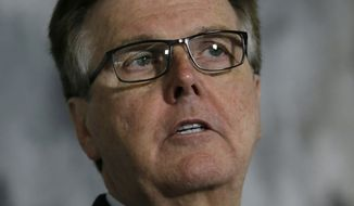 "This May 13, 2016, file photo shows Texas Lt. Gov. Dan Patrick speaking during a news conference at the Texas Republican Convention in Dallas. Patrick has deleted a tweet quoting the New Testament that he posted after the deadly Orlando nightclub shooting. Hours after the Sunday, June 12, 2016, shooting at a gay nightclub that left at least 50 people dead, Patrick sent a tweet from his personal account: ""Do not be deceived. God cannot be mocked. A man reaps what he sows."" (AP Photo/LM Otero, file)"