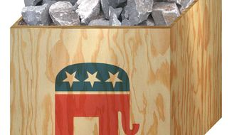 Illustration on the political acumen of the Republican Party by Alexander Hunter/The Washington Times