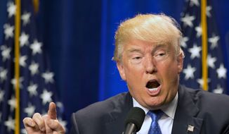 Republican presidential candidate Donald Trump speaks at Saint Anselm College Monday, June 13, 2016, in Manchester, N.H. (AP Photo/Jim Cole)