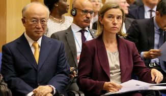 Director General of the International Atomic Energy Agency, IAEA, Yukiya Amano and EU foreign policy chief Federica Mogherini, from left, attend the 20th anniversary celebration of the Comprehensive Nuclear Test Ban Treaty Organization, CTBTO, at the UN headquarters in Vienna, Austria, Monday, June 13, 2016. (AP Photo/Ronald Zak)