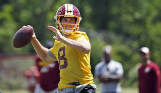 Washington Redskins quarterback Kirk Cousins (8) throws during practice at the team's NFL football training facility at Redskins Park, Wednesday, June 8, 2016 in Ashburn, Va. (AP Photo/Alex Brandon)