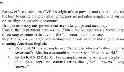 """The Department of Homeland Security's June 2016 report by the Countering Violent Extremism (CVE)  Subcommittee instructs officials not to use words like """"jihad"""" and """"sharia."""" (Department of Homeland Security)"""