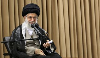 In this picture released by an official website of office of the Iranian supreme leader, Supreme Leader Ayatollah Ali Khamenei speaks in a meeting with Iranian officials in Tehran, Iran, on Tuesday, June 14, 2016. (Office of the Iranian Supreme Leader via AP)