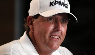Phil Mickelson talks during a news conference for the U.S. Open golf championship at Oakmont Country Club on Wednesday, June 15, 2016, in Oakmont, Pa. (AP Photo/Gene J. Puskar)