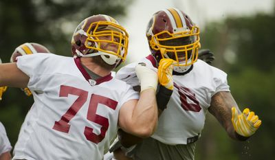 Washington Redskins Brandon Scherff, left, and Morgan Moses, right, take part in drills during NFL football minicamp at Redskins Park Wednesday, June 17, 2015 in Ashburn, Va. (AP Photo/Pablo Martinez Monsivais)