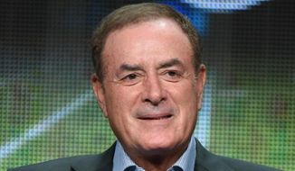 "FILE - In this Aug. 13, 2015, file photo, Al Michaels participates in the ""Monday Night Football"" panel at the The NBCUniversal Television Critics Association Summer Tour at the Beverly Hilton Hotel in Beverly Hills, Calif. Al Michaels will host NBC's daytime coverage during the Olympics in Rio de Janeiro. Michaels is working his fourth straight Olympics for NBC, all with similar roles. The daytime coverage will originate from Copacabana Beach.(Photo by Richard Shotwell/Invision/AP, File) **FILE**"