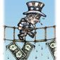 Illustration on the U.S. economy by Kevin Kreneck/Tribune Content Agency