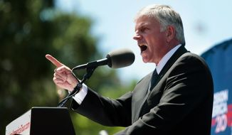 The Rev. Franklin Graham speaks during his rally at the State Capitol in Madison, Wis., Wednesday, June 15, 2016. (Michael P. King/Wisconsin State Journal via AP)