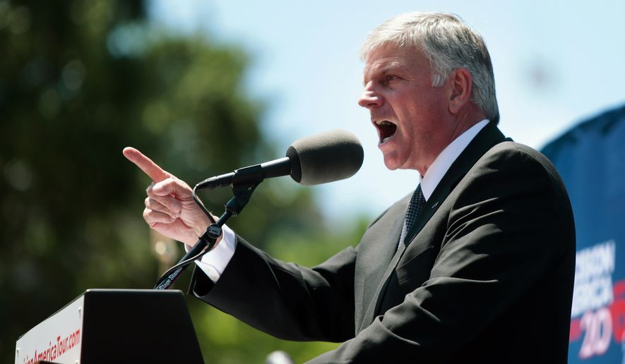 The Rev. Franklin Graham speaks during his rally at the State Capitol in Madison, Wis., Wednesday, June 15, 2016. (Michael P. King/Wisconsin State Journal via AP)  ** FILE **