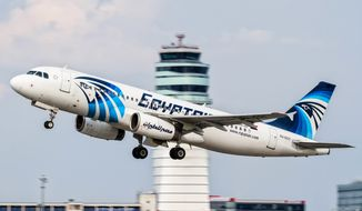 This Aug. 21, 2015, file photo shows an EgyptAir Airbus A320 with the registration SU-GCC taking off from Vienna International Airport, Austria. The cockpit voice recorder of the doomed EgyptAir plane that crashed last month killing all 66 people on board has been found and pulled out of the Mediterranean Sea, Egypt's investigation committee said on Thursday, June 16, 2016. (AP Photo/Thomas Ranner, File)