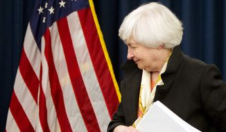 Federal Reserve Chair Janet Yellen leaves a news conference after the 2016 Federal Open Market Committee meeting, in Washington, Wednesday, June 15, 2016. (AP Photo/Jacquelyn Martin)