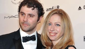 In this Feb. 9, 2011, file photo, Chelsea Clinton and husband Marc Mezvinsky attend amfAR's annual New York Gala at Cipriani Wall Street in New York. (AP Photo/Evan Agostini, File)