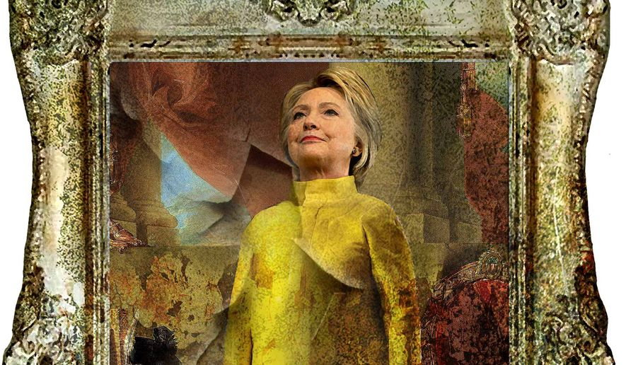 Illustration on Hillary Clinton's corrupt background by Alexander Hunter/The Washington Times