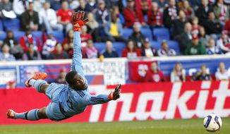 D.C. United goalkeeper Bill Hamid dives for a shot by the New York Red Bulls during the first half of an MLS playoff soccer match, Sunday, Nov. 8, 2015, in Harrison, N.J. The shot went wide of the goal. (AP Photo/Julio Cortez)