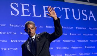 President Barack Obama waves as he walks off stage after speaking at the SelectUSA Investment Summit in Washington, Monday, June 20, 2016. (AP Photo/Pablo Martinez Monsivais)