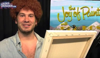 Comedian Steven Crowder used his popular YouTube channel to draw a picture of the Islamic prophet Muhammad while in character as painter Bob Ross. (YouTube, Steven Crowder)