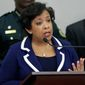 Attorney General Loretta Lynch makes comments during a news conference about the Pulse nightclub mass shooting, Tuesday, June 21, 2016, in Orlando, Fla. (AP Photo/John Raoux) ** FILE **