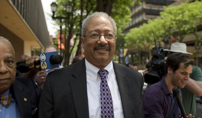 Rep. Chaka Fattah, D-Pa., walks after leaving the federal courthouse in Philadelphia, Tuesday, June 21, 2016. Fattah, a veteran Pennsylvania congressman, was convicted Tuesday in a racketeering case that largely centered on various efforts to repay an illegal $1 million campaign loan related to his unsuccessful 2007 mayoral bid. (AP Photo/Matt Rourke)