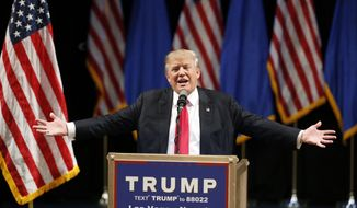 In this June 18, 2016, photo, Republican presidential candidate Donald Trump speaks at the Treasure Island hotel and casino in Las Vegas. (AP Photo/John Locher)