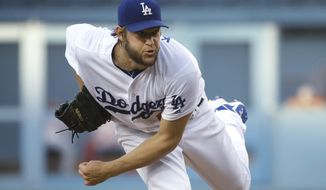 Los Angeles Dodgers starting pitcher Clayton Kershaw struck out eight Nationals on Monday night. (AP Photo/Jae C. Hong)
