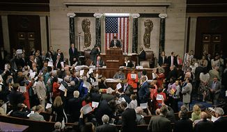In this image from video provided by House Television, House Speaker Paul Ryan stands at the podium as he brings the House into session Wednesday night, June 22, 2016, in Washington. Rebellious Democrats staged an extraordinary all-day sit-in on the House floor to demand votes on gun-control bills, shouting down Ryan when he attempted to restore order as their protest stretched into the night. The sit-in was well into its 10th hour, with Democrats camped out on the floor stopping legislative business in the House, when Ryan stepped to the podium to gavel the House into session and hold votes on routine business. Angry Democrats chanted No bill, no break! and waved pieces of paper with the names of gun victims, continuing their protest in the well of the House even as the House voted on a previously scheduled and unrelated measure to overturn an Obama veto. (House Television via AP)