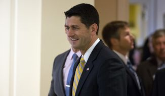 House Speaker Paul Ryan of Wis. arrives at the American Enterprise Institute (AEI) in Washington, Wednesday, June 22, 2016, to talk about new proposals to repeal and replace President Barack Obama's health care law. (AP Photo/Alex Brandon)