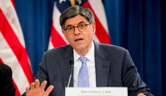 Treasury Secretary Jacob Lew speaks at a news conference at the Treasury Department in Washington, Wednesday, June 22, 2016, on the annual Social Security and Medicare Boards of Trustees report. (AP Photo/Andrew Harnik)