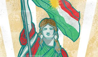 Illustration on the struggle for Kurdish independence by Linas Garsys/The Washington Times