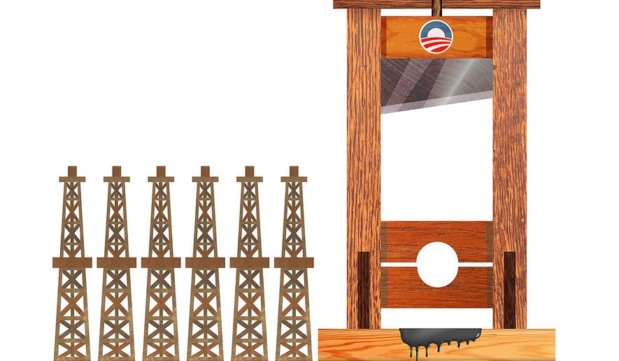 Illustration on the Obama administration's plans for the fossil fuel industry by Greg groesch/The Washington Times