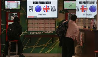 Betting odds for the the EU referendum result are displayed in a betting shop in Westminster, London, Thursday, June 23, 2016.  Voters in the United Kingdom are taking part in a referendum that will decide whether Britain remains part of the European Union or leaves the 28-nation bloc. (AP Photo/Tim Ireland)