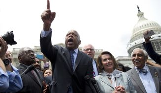 Rep. John Lewis, D-Ga., center, joined by, from left, House Assistant Minority Leader James Clyburn of S.C., Rep. Joseph Crowley, D-N.Y., House Minority Leader Nancy Pelosi of Calif., and Rep. Charles Rangel, D-N.Y., speaks on Capitol Hill in Washington, Thursday, June 23, 2016, after House Democrats ended their sit-in protest.  (AP Photo/Carolyn Kaster)
