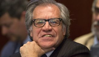 Luis Almagro, General Secretary of the Organization of American States (OAS) listens during a session of the OAS, Thursday, June 23, 2016, in Washington. (AP Photo/Jacquelyn Martin)
