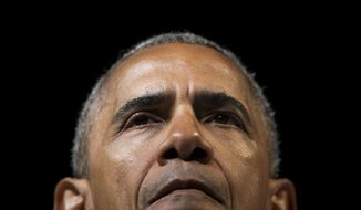 President Barack Obama pauses while speaking at a fundraiser for Washington Gov. Jay Inslee at the Washington State Convention Center, Friday, June 24, 2016, in Seattle, WA. (AP Photo/Pablo Martinez Monsivais)