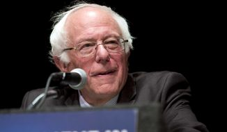"""Democratic presidential candidate Sen. Bernie Sanders, I-Vt., delivers his """"Where We Go From Here"""" speech, Friday, June 24, 2016, in Albany, N.Y. (AP Photo/Mike Groll)"""