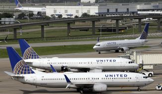 In this July 8, 2015, file photo, a United Airlines plane, front, is pushed back from a gate at George Bush Intercontinental Airport in Houston. (AP Photo/David J. Phillip, File)