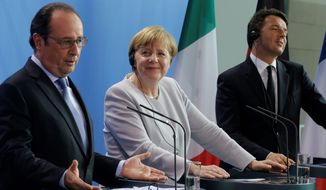 President of France Francois Hollande (left), German Chancellor Angela Merkel and Italian Prime Minister Matteo Renzi said they agreed there will be no formal or informal talks until the British government formally declares its intention to quit the European Union. (Associated Press)