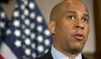 In this photo taken June 20,2016, Sen. Cory Booker, D-N.J. speaks on Capitol Hill in Washington. As Hillary Clinton considers her choices for vice president, shes seriously weighing the potential impact her choice could have on Democratic efforts to retake control of the Senate, according to members of her party familiar with her thinking.  (AP Photo/Alex Brandon)