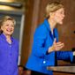 Sen. Elizabeth Warren, D-Mass., accompanied by Democratic presidential candidate Hillary Clinton, left, speaks at the Cincinnati Museum Center at Union Terminal in Cincinnati, Monday, June 27, 2016. (AP Photo/Andrew Harnik)