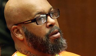 """FILE - In a Tuesday, Oct. 27, 2015 file photo, former rap mogul Marion """"Suge"""" Knight appears in court for his arraignment on robbery charges, in Los Angeles. Knight is suing Chris Brown after getting shot seven times at a 2014 party hosted by the R&B singer. Knight's lawsuit filed Monday, June 27, 2016,  in Los Angeles Superior Court accuses Brown and owners of the nightclub called 1 Oak of having inadequate security during the August 2014 party. (Frederick M. Brown/Pool via AP, File)"""
