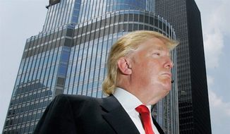 Donald Trump, international businessman, surveys his territory outside Trump Tower in Chicago. (Associated Press)