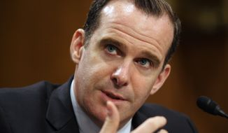 U.S. Special Presidential Envoy Brett McGurk, the U.S. representative to the anti-Islamic State coalition, testifies on Capitol Hill in Washington, Tuesday, June 28, 2016, before the Senate Foreign Relations Committee. McGurk said morale inside the extremist group is plummeting as the forces arrayed against it are gaining momentum.  (AP Photo/Lauren Victoria Burke)