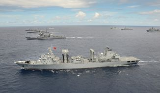 The Chinese navy is expected to field five ships, including two guided missile warships and a submarine rescue ship, when it participates for the second time in the biennial Rim of the Pacific naval war games. (U.S. Navy)
