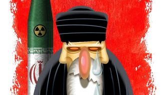 Illustration on Iran's empty condemnation of terrorism by Alexander Hunter/The Washington Times