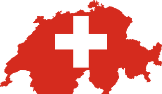 Outline of Switzerland mashed up with Swiss flag design. Image via Wikimedia Commons. Accessed June 29, 2016.