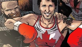 """Canadian Prime Minister Justin Trudeau appears on a variant cover of Marvel's Civil War II: Choosing Sides No. 5,"""" while will be released in August. (Marvel Comics promotional screenshot)"""
