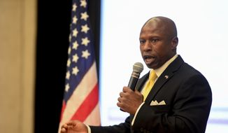 El Paso County Commissioner Darryl Glenn speaks after winning the 2016 primary for U.S. Senate, Tuesday, June 28, 2016 in Colorado Springs, Colo.. (Michael Reaves/The Denver Post via AP)