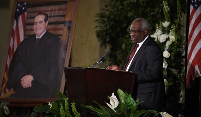 Supreme Court Justice Clarence Thomas speaks at the memorial service for Supreme Court Justice Antonin Scalia in March at the Mayflower Hotel in Washington. With the death of his longtime colleague and friend Antonin Scalia, and the direction of the court mired in uncertainty by a tumultuous presidential race, perhaps Justice Thomas' most significant years defending the Constitution may be yet to come.