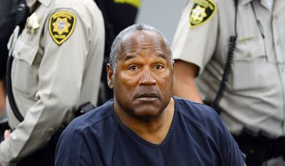 O.J. Simpson - On the night of September 13, 2007, a group of men led by Simpson entered a room in the Palace Station hotel in Las Vegas, Nevada. Bruce Fromong, a sports memorabilia dealer and drug dealer, testified that the group of men broke into his hotel room and stole various sports memorabilia at gunpoint. Three days later, on September 16, 2007, Simpson was arrested for his involvement in the robbery and held without bail. He admitted taking the items, which he said had been stolen from him, but denied breaking into the room. Simpson also denied the allegation that he or the people with him carried weapons. On October 3, 2008 Simpson was found guilty of all ten charges. On December 5, 2008, Simpson was sentenced to 33 years in prison with eligibility for parole in nine years. He is currently incarcerated at the Lovelock Correctional Center in Lovelock, Nevada. (AP Photo/Ethan Miller, Pool, File)