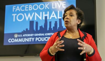 Attorney General Loretta Lynch at a Facebook Live Town Hall meeting on Thursday June 30, 2016 in Playa Vista campus. Attorney General Loretta Lynch is visiting Los Angeles as part of Community Policing Tour.  Former President Bill Clinton spoke with Lynch during an impromptu meeting in Phoenix, but Lynch said the discussion did not involve the investigation into Hillary Clinton's email use as secretary of state. (Irfan Khan / Los Angeles Times)  /Los Angeles Times via AP)